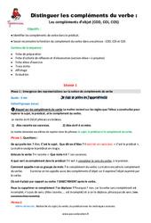 Compléments du verbe – Cm1 – Fiche de préparation