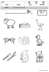 Son u - Phonologie – Maternelle – Moyenne section – Grande section - Cycle 1 - Cycle 2