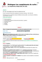 Compléments du verbe – Cm2 – Fiche de préparation
