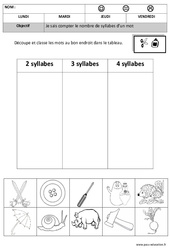 Syllabes: Classer - Compter - Dessiner - 2 à 4 - Phonologie – Maternelle – Moyenne section – Grande section - Cycle 1 - Cycle 2