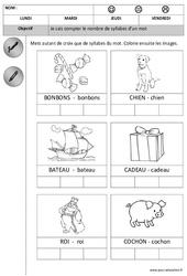 Syllabes - Compter - Dessiner le nombre 1 à 2 - Phonologie – Maternelle – Petite section - Cycle 1