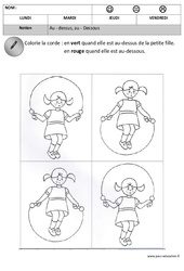 Dessus – Dessous – Espace – Maternelle – Petite section – Moyenne section – Cycle 1