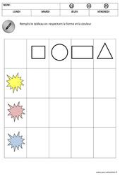 Formes et tableau à double entrée – Maternelle – Moyenne section – Grande section - Formes - Cycle 1 - Cycle 2