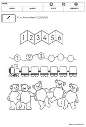 Ecrire les chiffres – Maternelle – Moyenne section – Grande section – Ecriture– Cycle 1 – Cycle 2