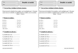 Double et moitié – Ce1 – Exercices corrigés – Numération – Mathématiques – Cycle 2