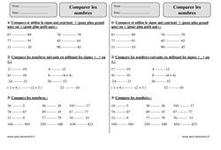 Comparer les nombres – Ce1 – Exercices corrigés – Numération – Mathématiques – Cycle 2