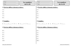 Nombres  de 0 à 10 – Ce1 – Exercices corrigés – Numération – Mathématiques – Cycle 2