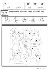 Relier en suivant un code - Logique – Noël – Maternelle – Petite section – Moyenne section – Cycle 1