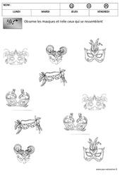 Discrimination visuelle – Les masques – Carnaval – Maternelle – Petite section – Moyenne section – PS – MS