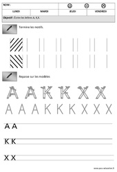Lettres A,K, X – Obliques – Maternelle – Moyenne section – MS