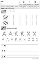 Lettres A,K, X – Obliques – Maternelle – Grande section – GS