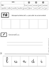 Lundi - Jours de la semaine - Ecriture cursive - Maternelle – Grande section – GS - Cycle 2