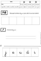 Jeudi - Jours de la semaine - Ecriture cursive - Maternelle – Grande section – GS - Cycle 2