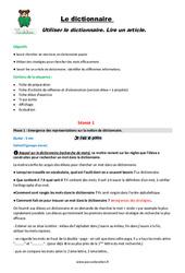 Lire un article - Dictionnaire- Cm1 - Fiche de préparation