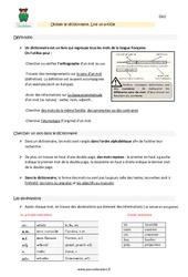 Utiliser le dictionnaire - Lire un article - Cm1 - Leçon