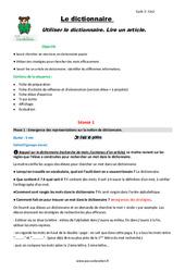 Lire un article - Dictionnaire- Cm2 - Fiche de préparation