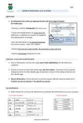 Utiliser le dictionnaire - Lire un article - Cm2 - Leçon