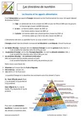 Fonctions de nutrition - 6ème - Cours