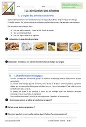 Fabrication des aliments - 6ème - Exercices