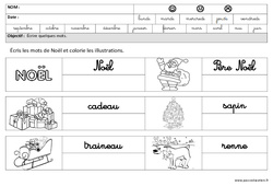 Noël - Ecrire des mots en cursive -  Maternelle – Grande section – GS – Cycle 2