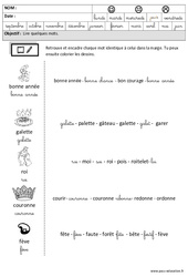 Fête des rois - Nouvel an - Lire des mots en cursive – Maternelle – Grande section – GS – Cycle 2