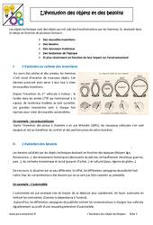 Evolutions des objets et de leur besoin – 6ème – Cours