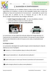 L'automobile et l'environnement – 6ème – Exercices