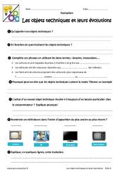 Objets techniques et évolutions – 6ème – Evaluation – Bilan
