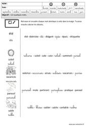 Eté - Lire des mots en cursive – Maternelle – Grande section – GS – Cycle 2