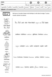 Noël – Lire des mots en cursive – Maternelle – Grande section – GS – Cycle 2