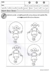 Dessus – Dessous – Espace – Maternelle – Grande section – GS – Cycle 2