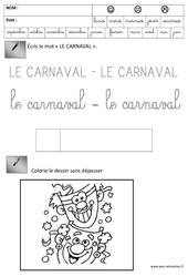 Ecriture – Carnaval – Maternelle – Grande section – GS – Cycle 2