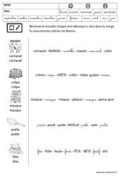 Lire les mots – Carnaval – Chandeleur – Maternelle – Grande section – GS – Cycle 2