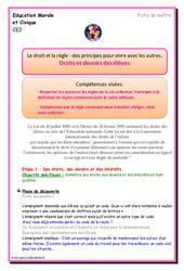 Droits et devoirs des élèves – Ce2 – EMC