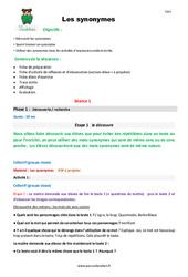 Synonymes - Cm1 - Fiche de préparation