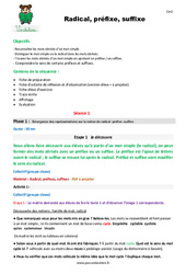 Radical, préfixe, suffixe – Cm2 – Fiche de préparation