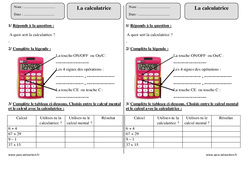 Calculatrice – Ce2 – Exercices à imprimer