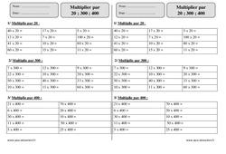 Multiplier par 20 ; 300 ; 400 – Ce2 – Exercices corrigés