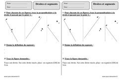 Droites et segments – Ce2 – Exercices corrigés – Géométrie