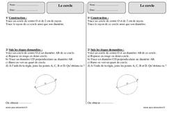 Cercle – Ce2 – Exercices corrigés – Géométrie