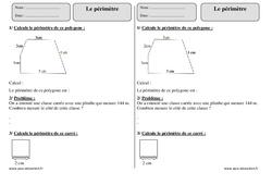 Périmètre – Ce2 – Exercices corrigés à imprimer