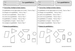 Quadrilatères – Ce2 – Exercices corrigés – Géométrie