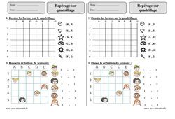 Repérage sur quadrillage – Ce2 – Exercices corrigés – Géométrie