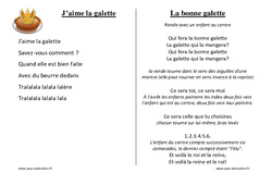 Galettes des rois – Chants – Comptines – Maternelle – Petite section – Moyenne section – Grande section: PS – MS – GS