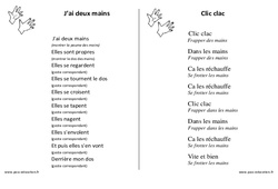 Mains – Jeux de doigts – Maternelle – Petite section – Moyenne section – Grande section: PS – MS – GS