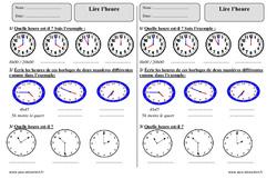 Lire l'heure – Ce2 – Exercices corrigés