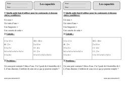 Capacités – Ce2 – Exercices corrigés – Contenance, litre