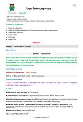 Homonymes – Cm1 – Fiche de préparation