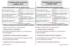Poser la question – Ce2 – Problèmes – Exercices corrigés – Mathématiques – Cycle 3