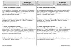 Aire et périmètre – Ce2 – Problèmes – Exercices corrigés – Mathématiques – Cycle 3